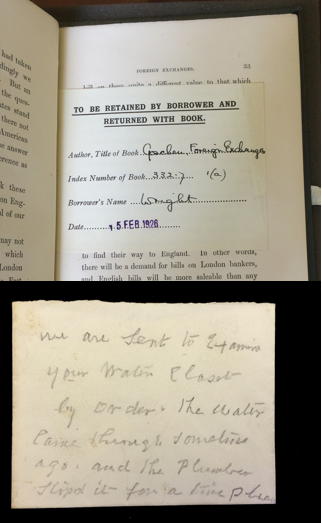 This loan slip and note about a leaking water closet are just two examples of the array of items used as bookmarks.