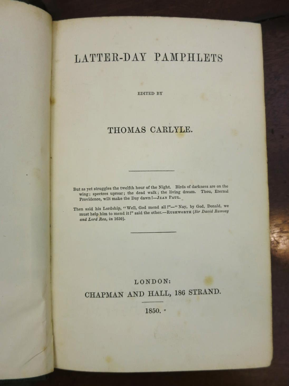 Thomas Carlyle, Latter-Day Pamphlets, 1850, frontispiece