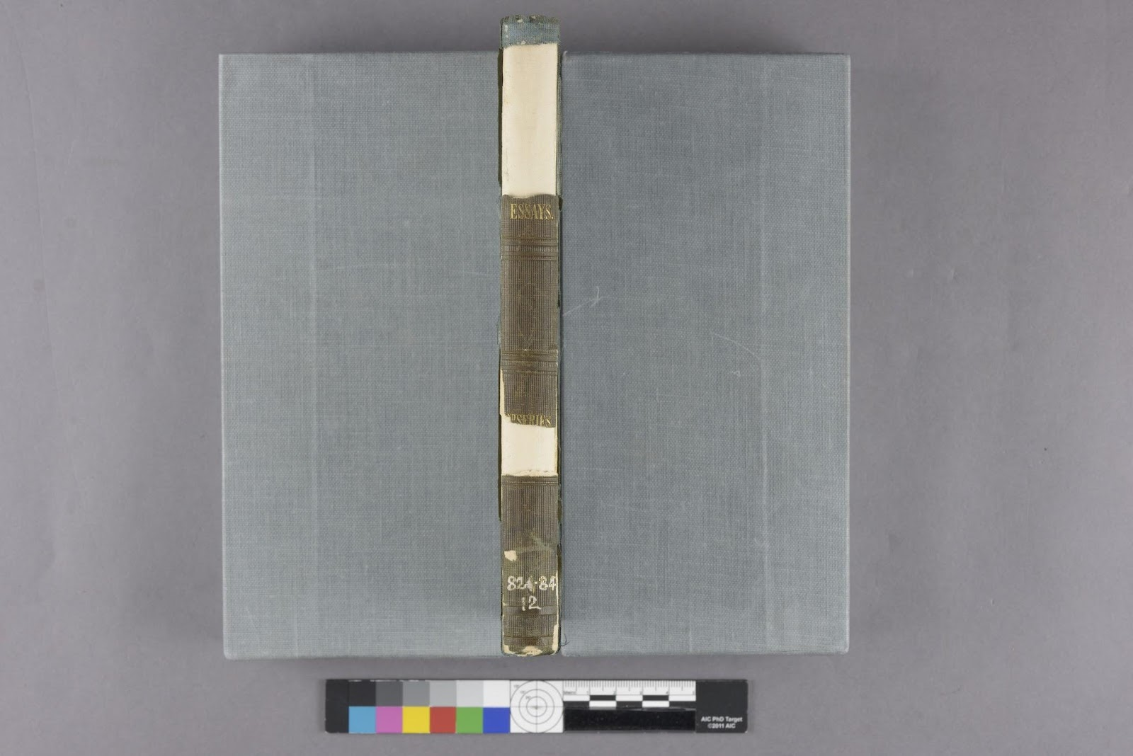 Spine of R. W. Emerson's Essays (1841) before undergoing conservation treatment